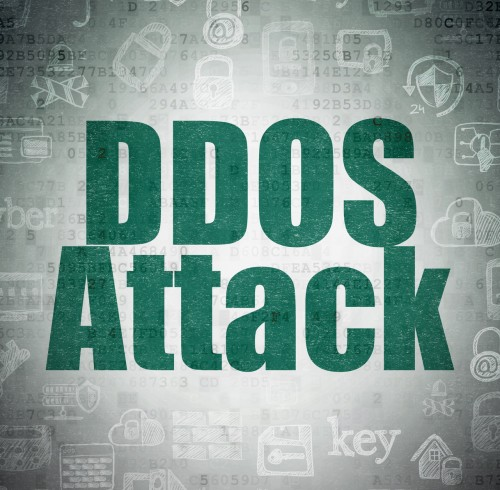 Protection concept: Painted green text DDOS Attack on Digital Paper background with   Hand Drawn Security Icons