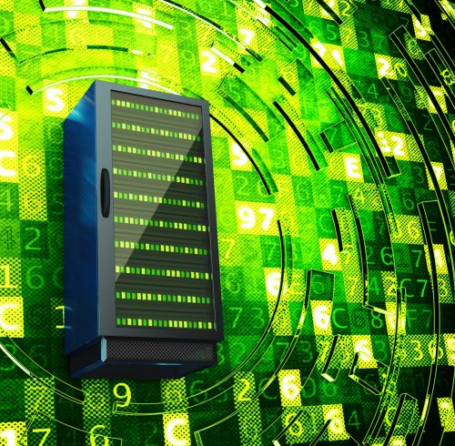 Data center, network server, internet hosting and computer technology concept, server rack on green background with digital code