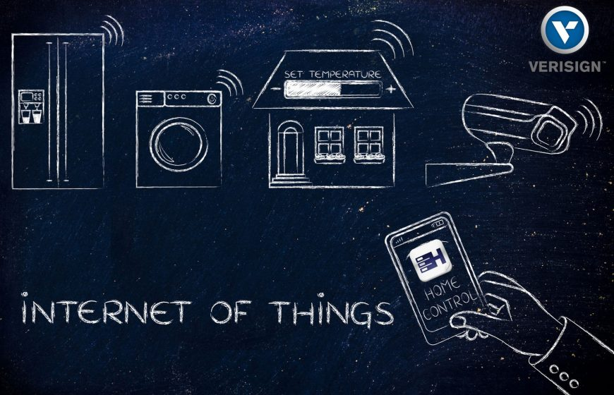Smart home technology: appliance, temperature settings and security camera remotely controlled by a smartphone