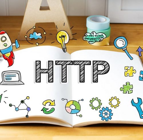 Http concept with notebook on wooden desk